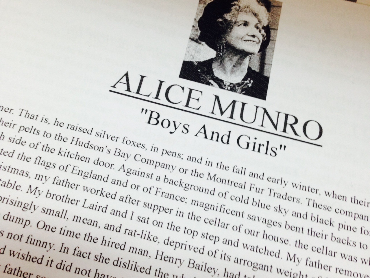 Story Review: Boys and Girls by Alice Munro