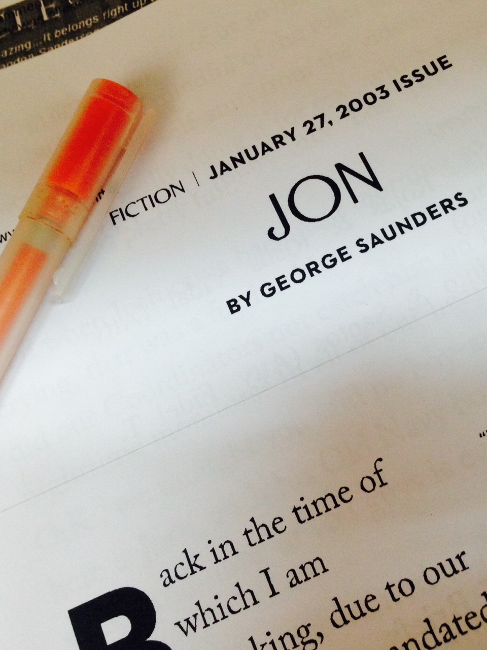 Story Review: Jon by George Saunders