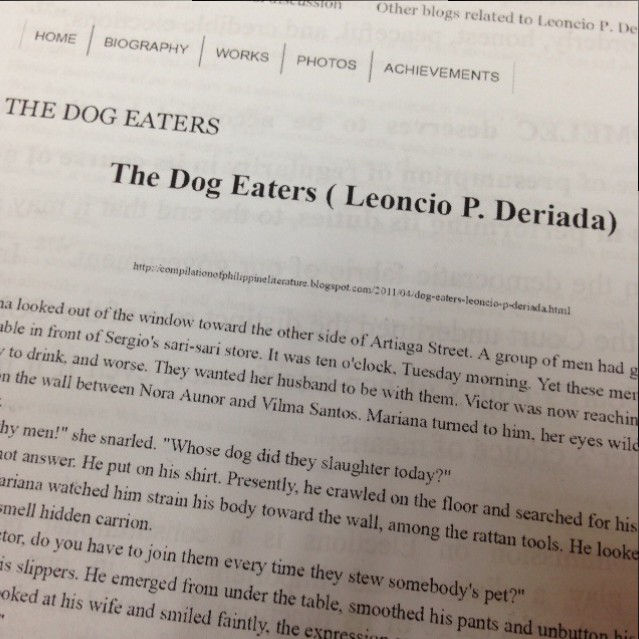Story Review: The Dog Eaters by Leoncio P. Deriada